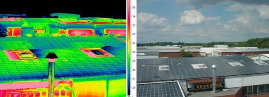 Thermografieaufnahme einer defekten PV-Anlage