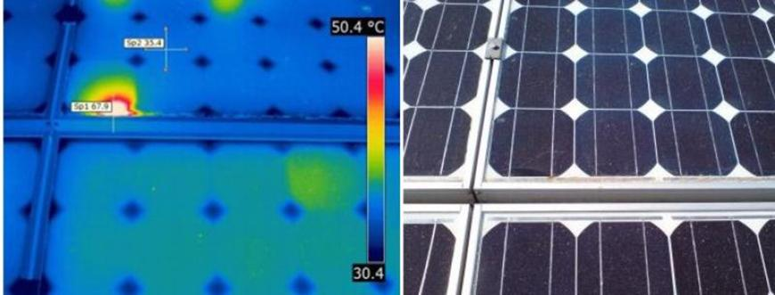 thermographic measurement on photovoltaics infrared image