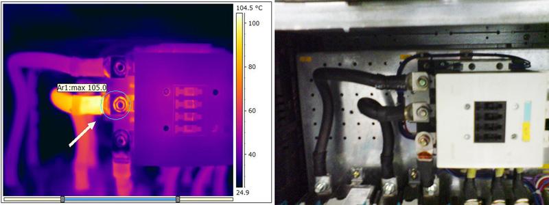 Gefährliche thermische Auffälligkeit (GTA) am Anschlusspunkt eines Leistungsschützes