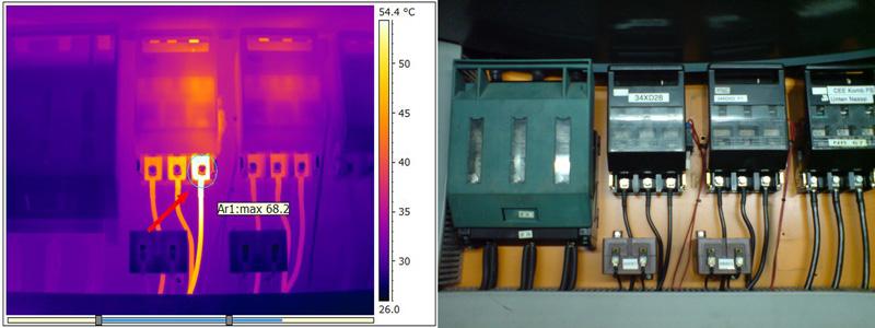 Thermografische Auffälligkeit an L3 an einem NH-Sicherungslasttrennschalter